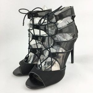 NWOB Steve Madden Black Lace Up Heels Size 8